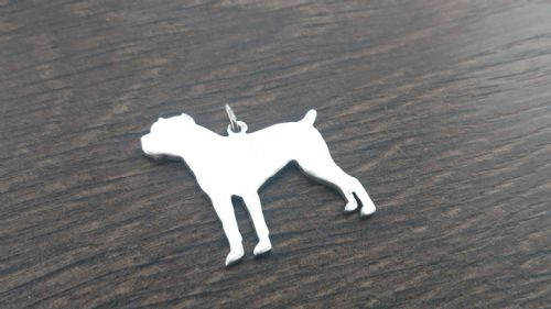 Cane Corso Charm silhouette solid sterling silver Handmade in the Uk